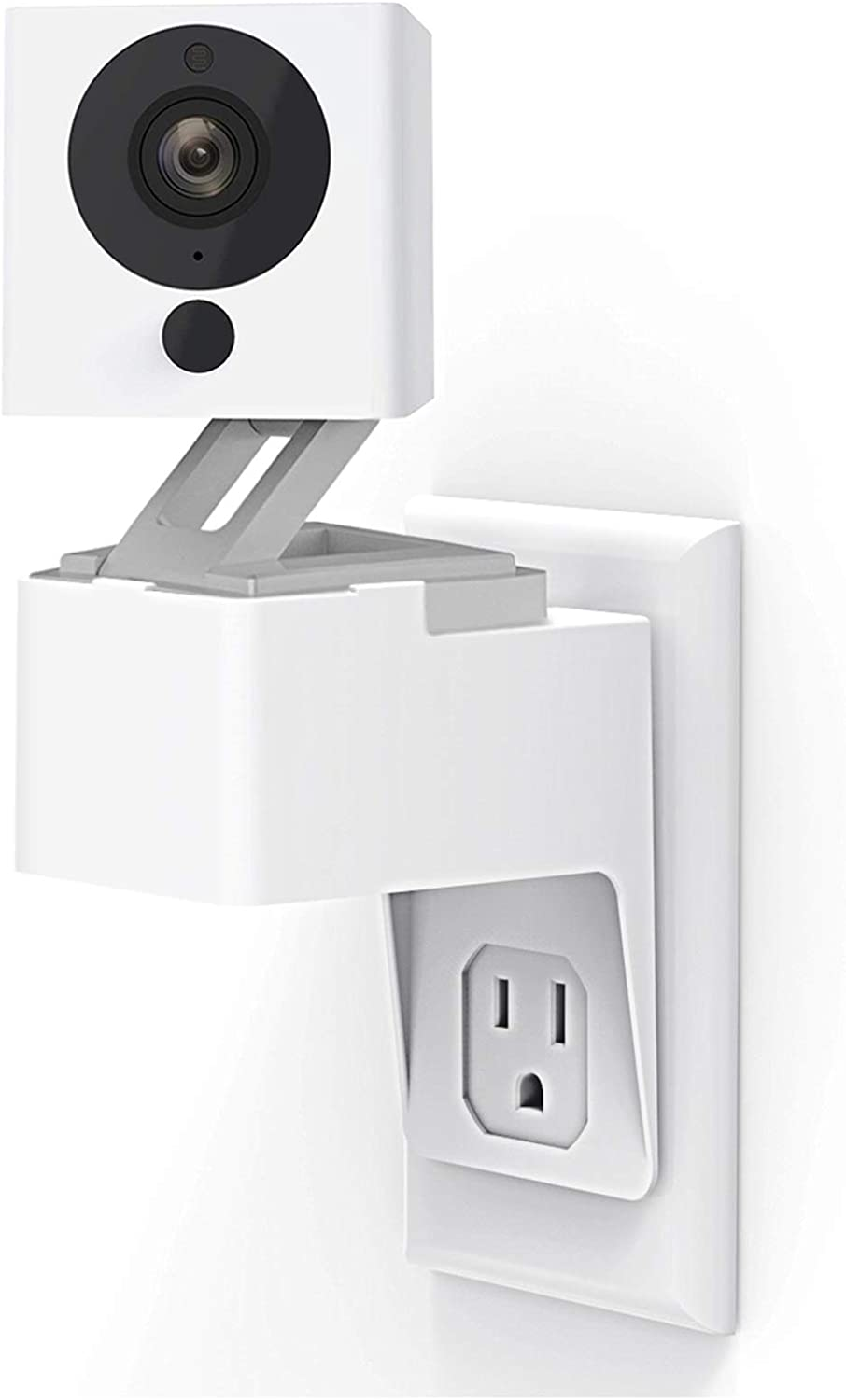 Wyze Cam Outlet Wall Mount, Upgraded 360 Degree Swivel AC Outlet Wall Plug Mount Stand Holder Bracket Without Messy Wires or Wall Damage (1 Pack)