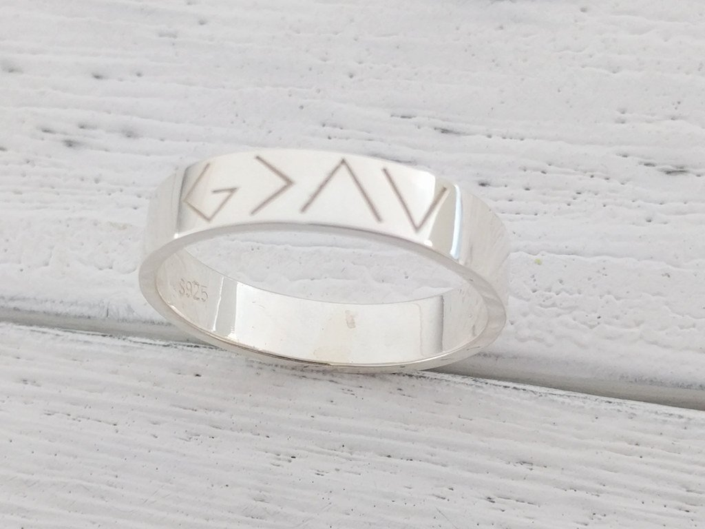 God is Greater Than The Highs And Lows Bar Ring