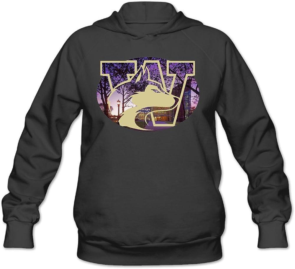 POOZ Women's University of Washington Husky Hooded Sweatshirt Black
