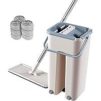 Flat Squeeze Mop with Bucket -AUSELECT- Wet Dry Floor Cleaning Handfree Mop - 3 Types Washable & Reusable Microfiber Mop…