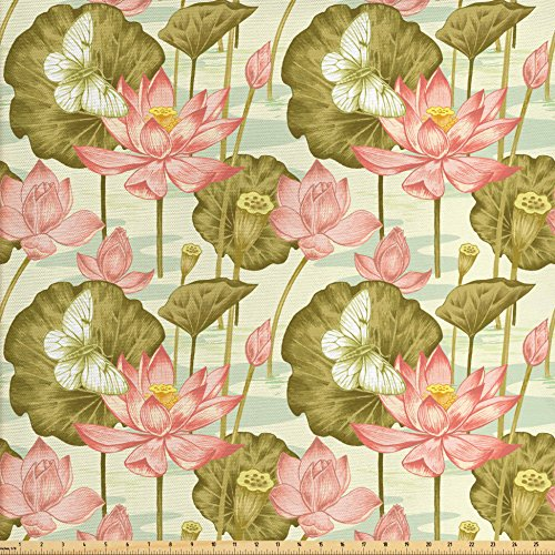 Ambesonne Asian Fabric by The Yard, Exotic Foliage with Butterflies Watercolor Brush Stroke Effect Vintage, Decorative Fabric for Upholstery and Home Accents, Olive and Pale Green Rose