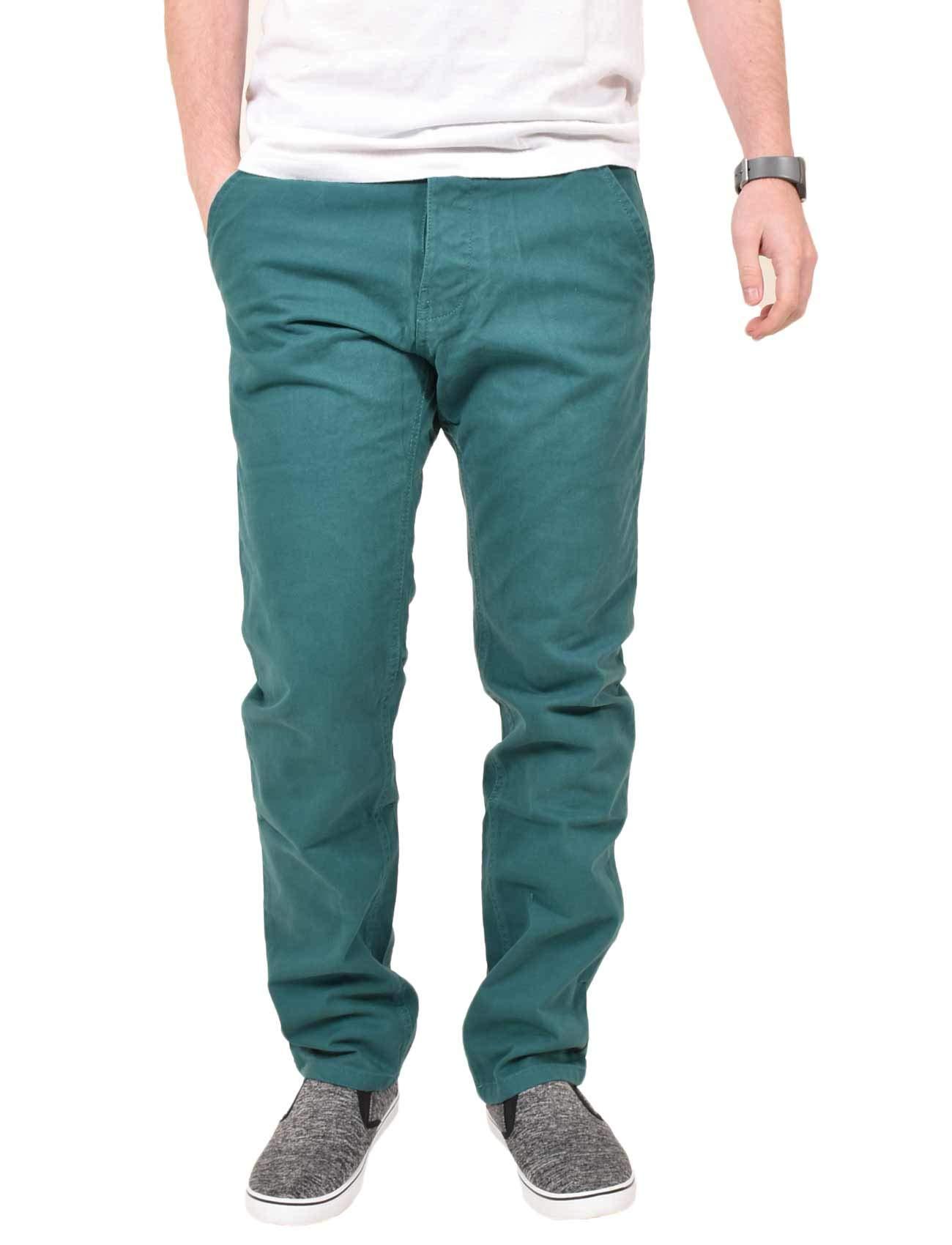 Mens Kushiro City Jeans Slim Fit Twill Chino Straight Leg Trousers Cotton Pants