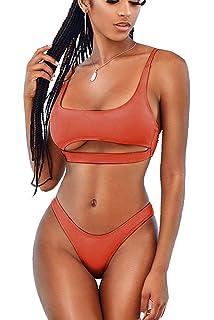 4ecfb3e2fd LEISUP Womens Cutout Crop Top High Cut Cheeky Two Piece Brazilian Bikini  Swimsuit