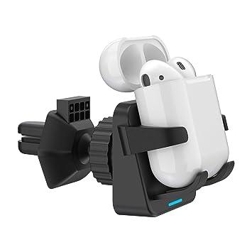 SIMPFUN Cargador Inalámbrico Coche Carga Rápida, Cargador Qi Coche, Soporte Automóvil 5W para Apple airpords 2