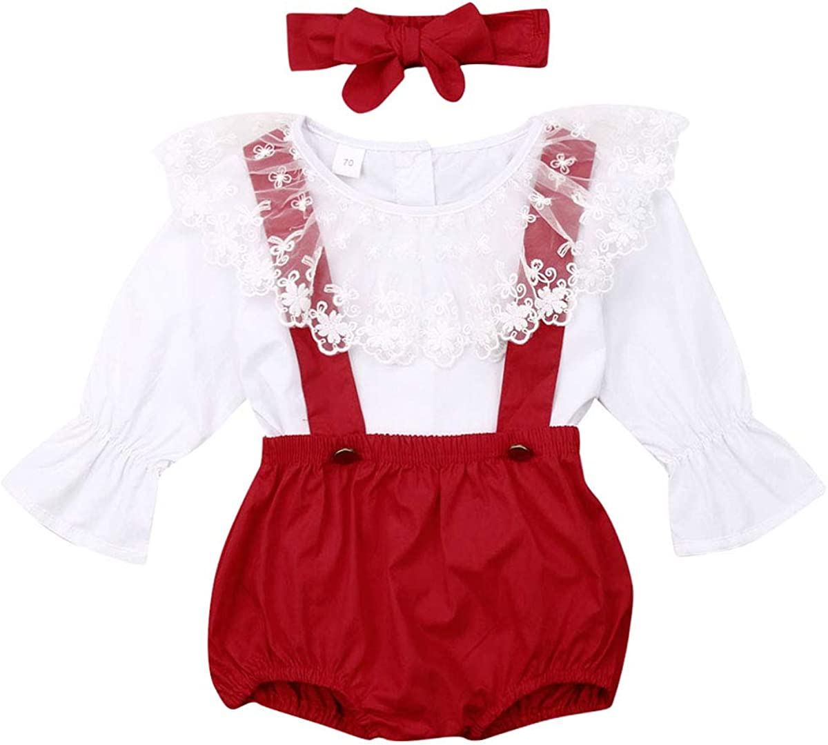 Idgreatim Toddler Girls Outfits/3PCS Long Sleeve Ruffle Top+Floral Suspender Skirt with Headband Fall Winter Clothes 12M-5T