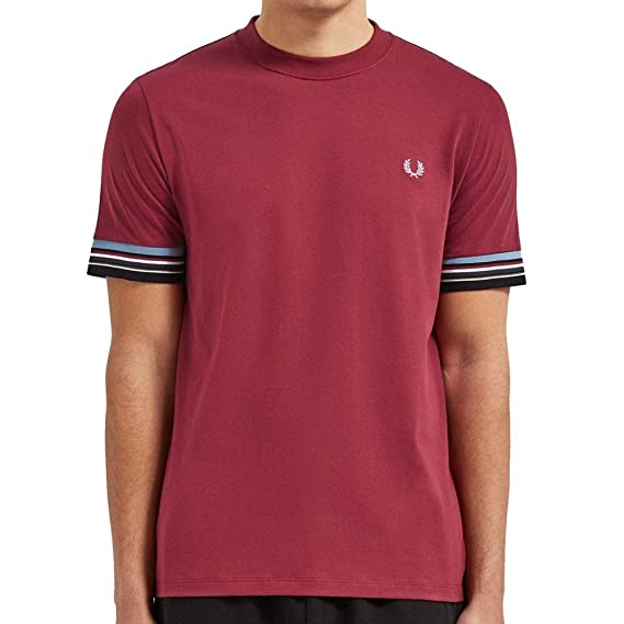 Fred Perry Hombres camiseta de rayas de puño m6528 106 Rojo L ...