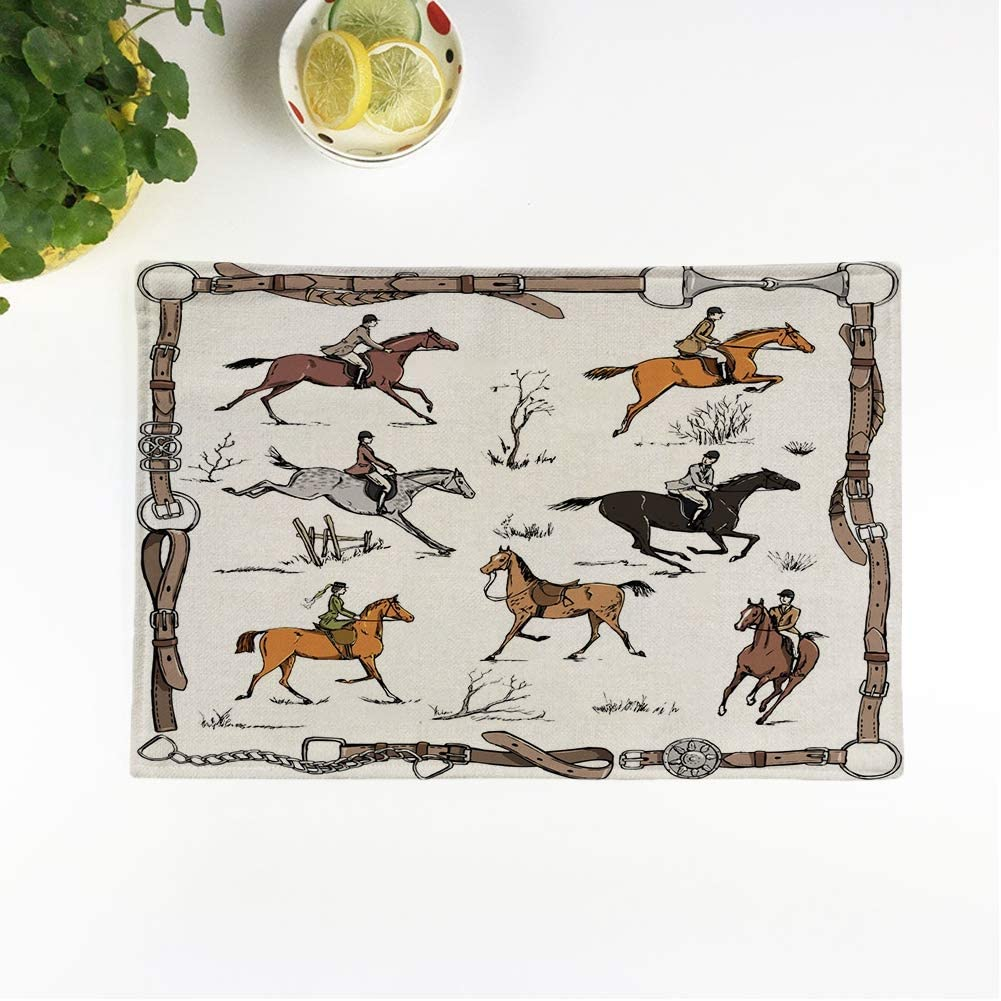 Amazon Com Rouihot Set Of 6 Placemats Equestrian Sport Fox Hunting Horse Riders English On Landscape Non Slip Doily Place Mat For Dining Kitchen Table Home Kitchen