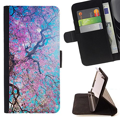 God Garden - FOR Apple Iphone 6 - Cherry Blossoms - Glitter Teal Purple Sparkling Watercolor Personalized Design Custom Style PU Leather Case Wallet Fli