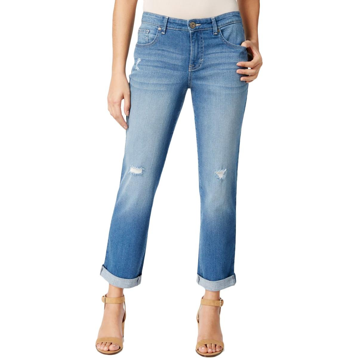 Style & Co. Womens Distressed Mid-Rise Boyfriend Jeans Blue 18