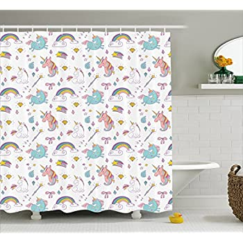 Unicorn Home And Kids Decor Shower Curtain By Ambesonne, Magic Unicorn  Forms With Colorful Fantasy