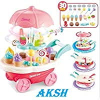 AKSH Mini Miniature Sweet Cart Sweet Shop with 30 pcs Parts for Kids 3+ 360 Revolving&Lighting&Music Simulation Candy Store (30 Piece, Pink) (30 pcs Sweet cart)