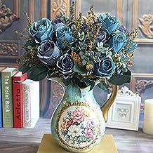 Soledi Beautiful Earl Rose Bouquet Charming Delightful Silk Flower Arrangement Large Palace Rose Artificial Flowers Hotel Wedding Home Decorative Flower Blue