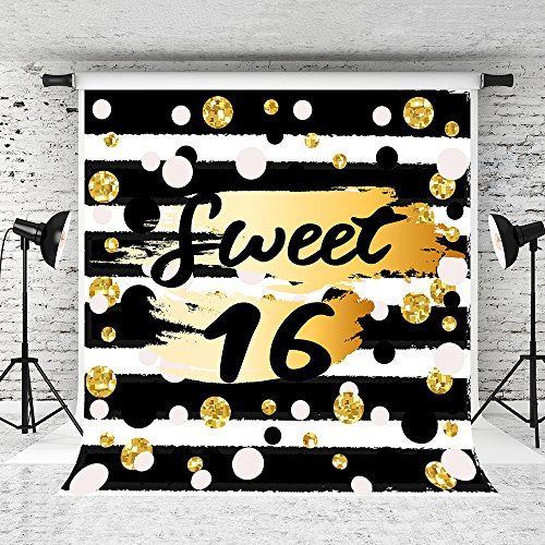 Kate 5x7ft Sweet 16 Photography Backdrops Black White Strips Backdrop Golden Spots Photo Backgrounds for Party Decoration Backdrop