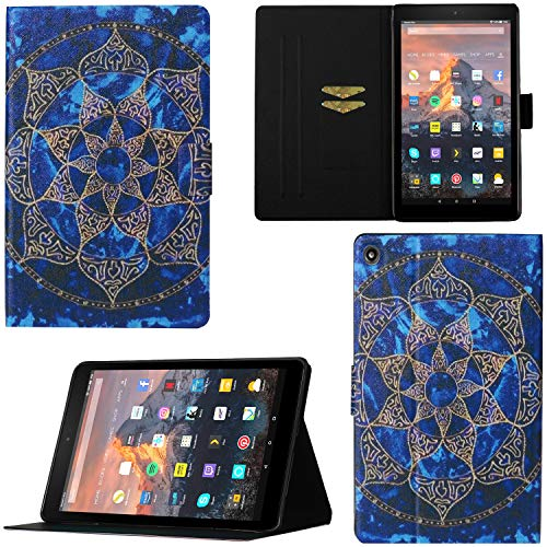 """DodoBuy Case for Samsung Galaxy Tab A 10.1"""" 2019 T510/T515, Magnetic Flip Smart Cover PU Leather Thin Slim Wallet Bag Stand with Card Slots - Mandala"""