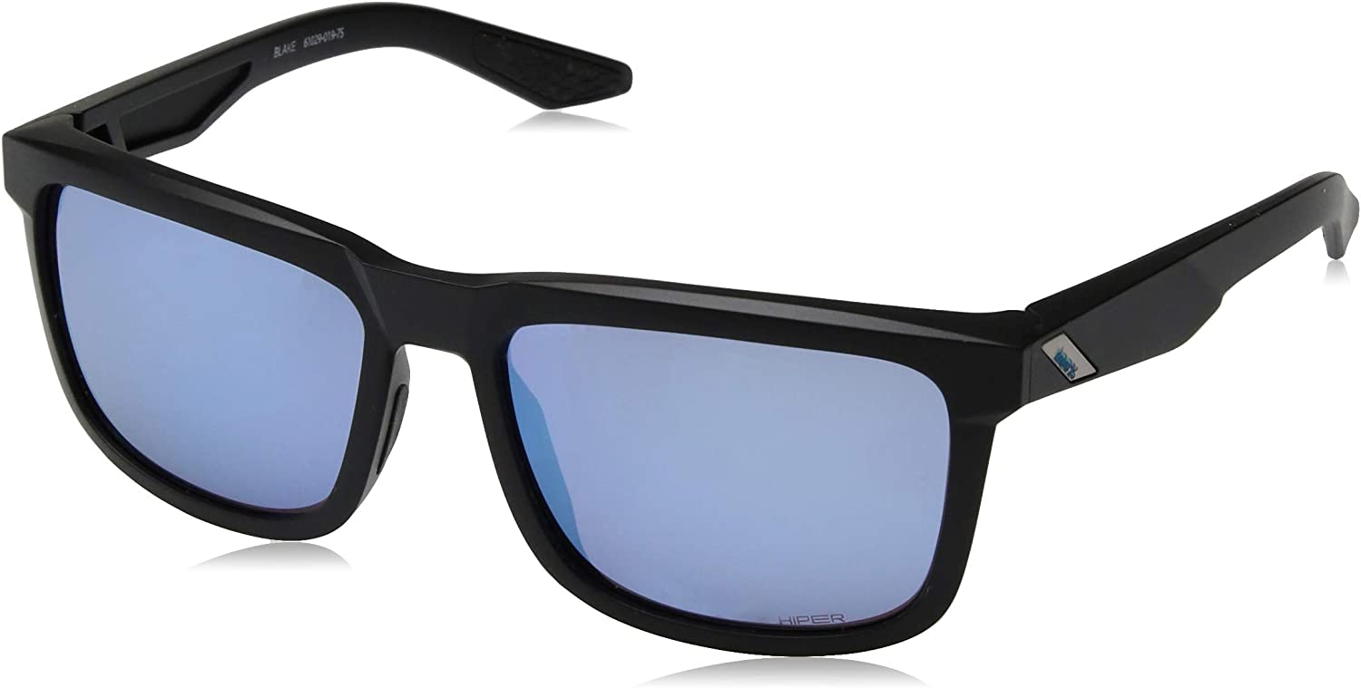 Image of Sunglasses 100% Unisex-Adult Speedlab (61029-019-75) Blake-Matte Black-HiPER Blue Multilayer Mirror Lens, Free Size)