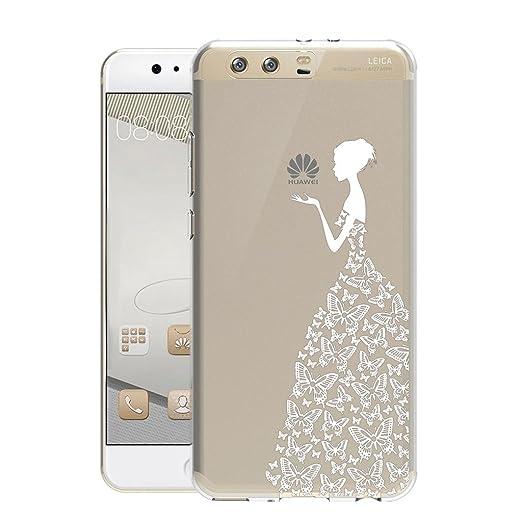 8 opinioni per Huawei P10 Cover , YIGA Bianco Ragazza Farfalla Trasparente Silicone Morbido TPU