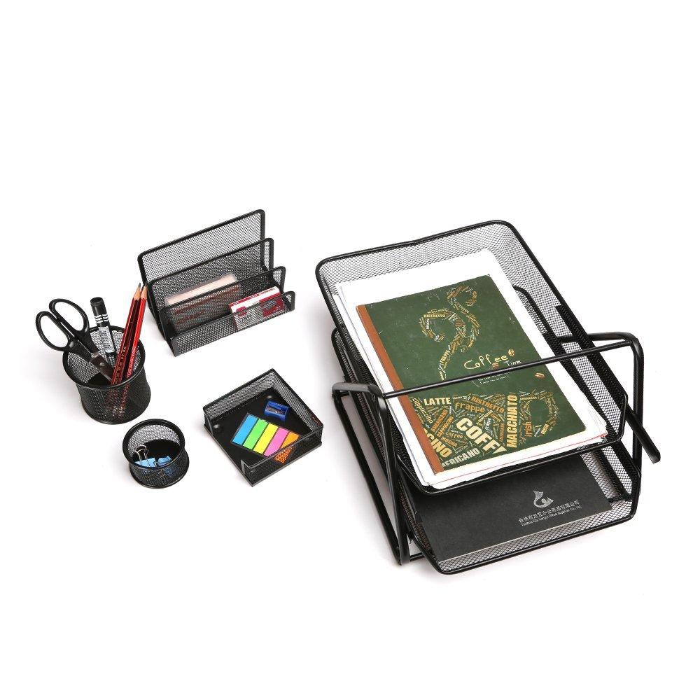 Set di 5 accessori da scrivania, Porta memo, Portapenne, Portacorrispondenza, Portalettere etc, CLy-9604 AOJIA 18/10 Steel