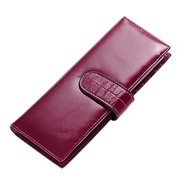 esdrem Piel Auténtica Organizador de tarjetas de nombre de la empresa Card Case tarjeta de crédito soporte cartera con ventana ID, color morado: Amazon.es: ...