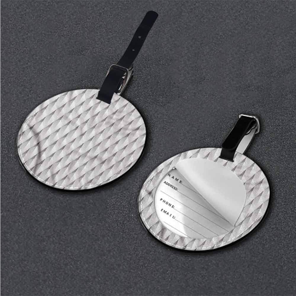 Women Luggage Tag Grey and White,Minimalistic Leaves Label Tag Address Holder