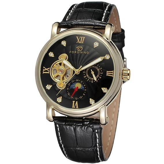 forsining fase de la luna de piel auténtica hombre automático reloj de pulsera fsg800 m3g4: Amazon.es: Relojes