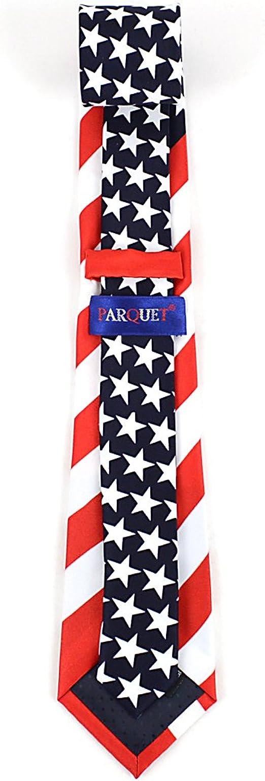 White Parquet Boys American Flag USA Necktie Clip On Neck Tie.