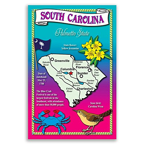 (SOUTH CAROLINA STATE MAP postcard set of 20 identical postcards. Post cards with SC map and state symbols. Made in)