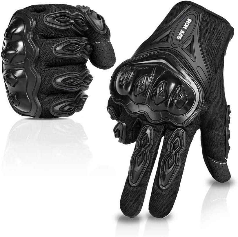 IRON JIA'S Par Guantes Dedo Completo PU Proteccion para Moto Bici Motocicleta Motorista puede pantalla táctil Talla XL Color Negro