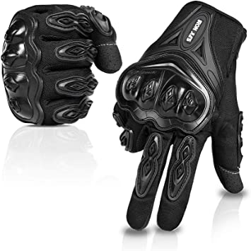 Motorcycle Riding Gloves for Men Women Touchscreen Breathable Gloves With Knuckle Protection for Motocross Dirt Bike ATV UTV Gift for Fathers Day kemimoto Motorcycle Summer Gloves Black, X-Large