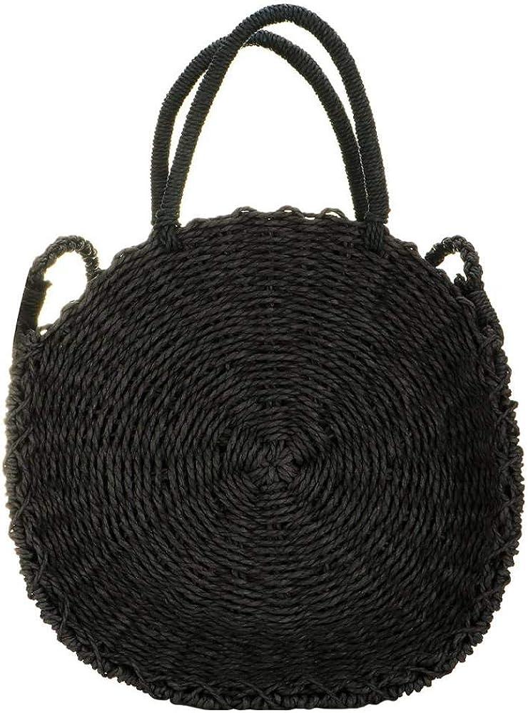 Details about  /Women Handwoven Round Rattan Bag Straw Pattern beach bag