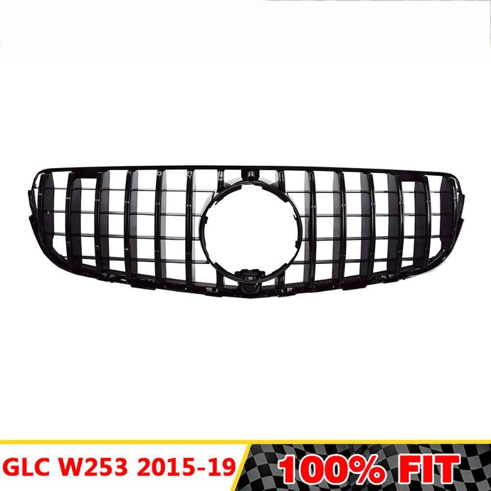 LSYBB Front Grill GTR GT R Grille Suitable for GlC Class W253 X253 GLC200 GLC250 GLC300 GLC450 GLC63 2015-2019 GLC Coupe Without central logo,Silver