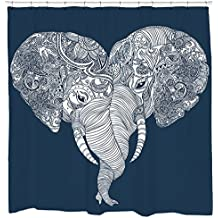 Elephants Shower Curtain with Indian Yoga Animal Print Navy and White Waterproof Fabric 12 Hooks Included