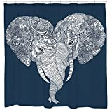 Beautiful Blue and White Elephant Fabric Shower Curtain Waterproof Mildew Resistant 12 Hooks Included