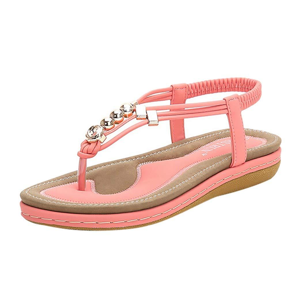 Sameno Plus Size Bohe Sandals for Women Metallic Beaded Flip Flops Clip Toe Summer Platform Slippers Wide Width US 5-12