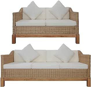 vidaXL Conjunto Muebles Jardín Ratán Natural Patio Terraza 2 Pzas Set Sofás 2 y 3 Plazas Mimbre + 5 Cojines Asiento + 4 Respaldo + 4 Decoración Crema: Amazon.es: Hogar