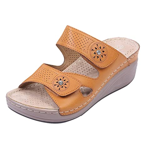 398b2cbe9e1 Image Unavailable. Image not available for. Color  Wedges Waterproof  Platform Sandals Casual Comfort Velcro Hollow Shoes