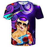 Hgvoetty Unisex Cool Shirt Cat Printed Fashion Casual Short Sleeves Tees Small