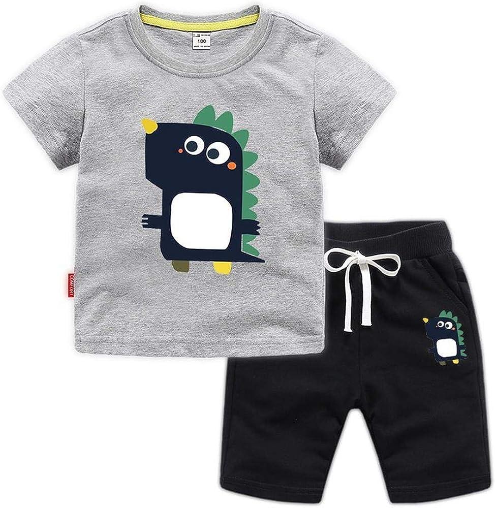 CASUALBOYS Dinosaur Stampa 2 Pezzi per Bambini T-Shirt Shorts Cotone Maniche Corte Adatto per I Ragazzi 1-8 Anni