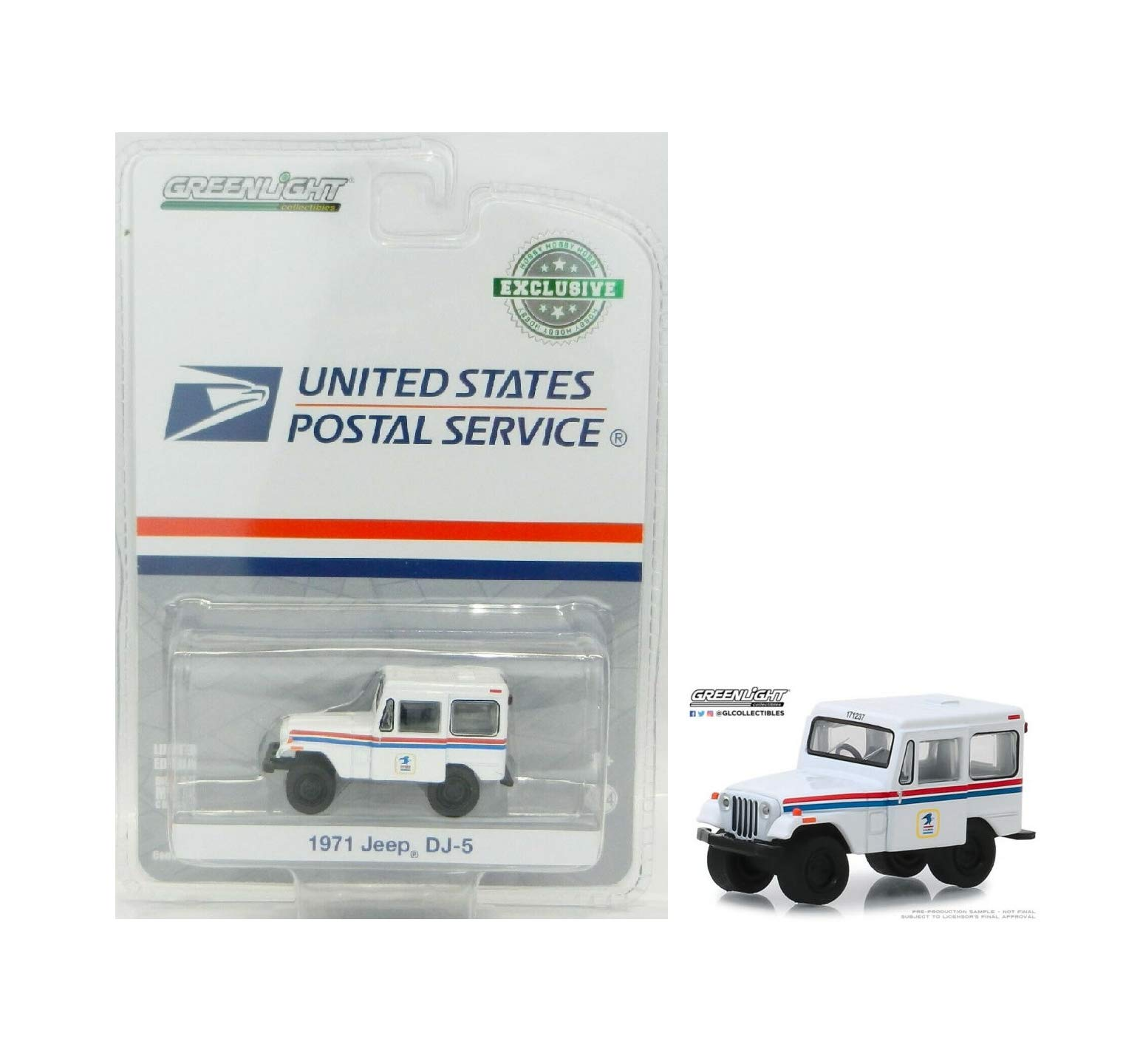 1:64 Love Gift United States Postal Service 1971 Jeep DJ-5 White Mail NIP Rare Vehicle Car Toy
