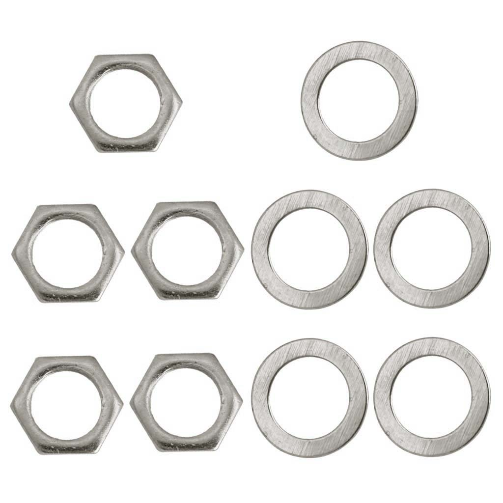 Baoblaze Set of 5 Iron Jack Socket Nuts Washers Silver 9mm for Electric Guitar/Bass Accessory