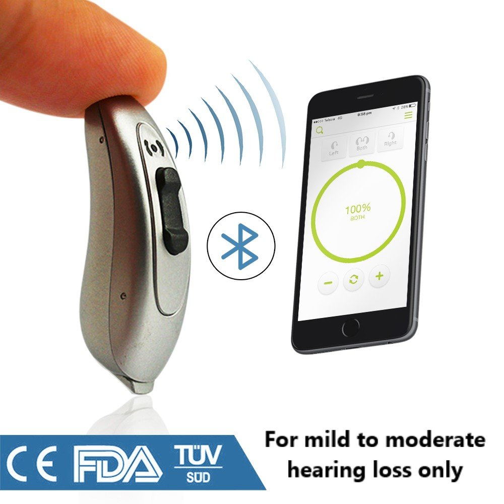 New 2018 FDA Approved Small Behind the Ear Quality 100% Digital Bluetooth Hearing Aid Sound Amplifier (PSAP) - (1 hearing aid in box) (Silver) by AuriClear (Image #1)