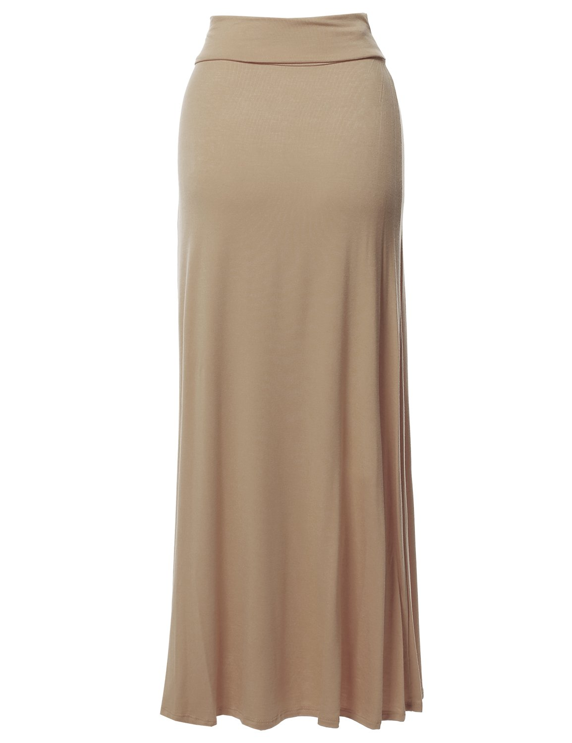 Stylish Fold Over Flare Long Maxi Skirt - Made in USA Beige M by Made by Emma (Image #2)