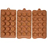 3-Piece Candy Set, Silicone Chocolate Ice Cube Molds, Tulip Rose Sunflower Lotus Shapes