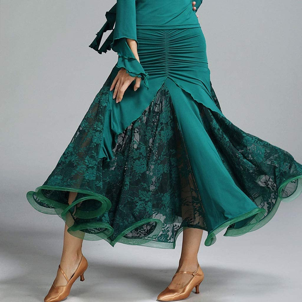 C&X Gonna per Danza Classica Mezza Lunghezza Danza Classica per Signora Anca Verde scuro