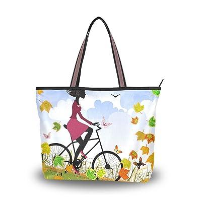 d9f60585774e Amazon.com: Tote Bag for Women Autumn Girl Bike Large Utility ...