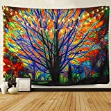 BLEUM CADE Colorful Tree Tapestry Wall Hanging Psychedelic Forest With  Birds Wall Tapestry Bohemian Mandala Hippie