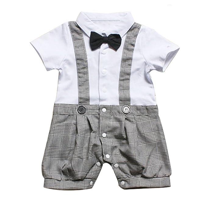 Le SSara Bebé pajarita caballero niños mameluco conjunto Plaid traje de verano (6-9