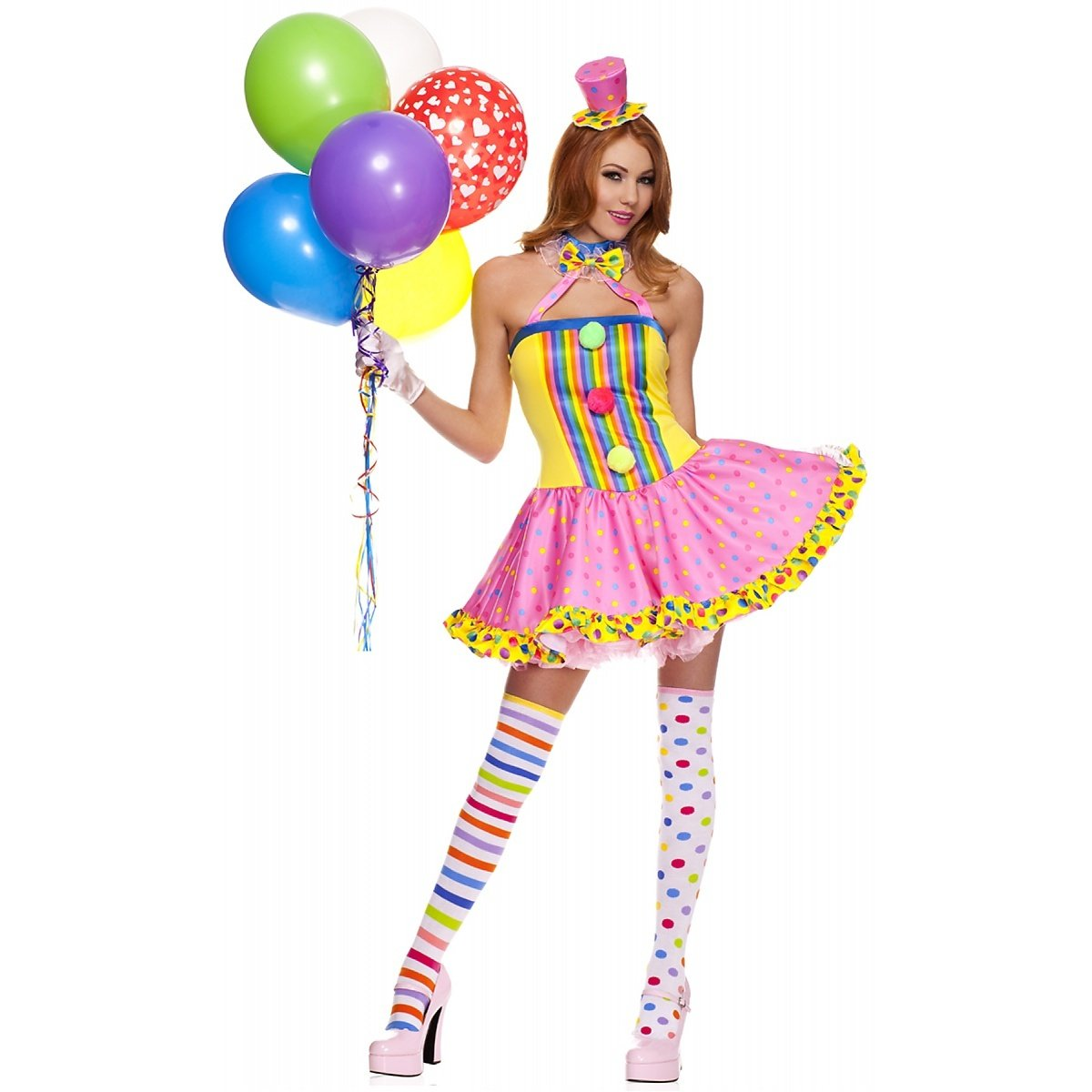 fee762fe06c The sexy clown Halloween costume comes in adult sizes Medium Large