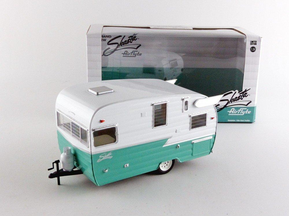caravanas 1961 verde//blanco Shasta Airflyte coche modelo 1:24//GreenLight