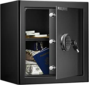 WASJOYE Security Safe Cash Box with Double Digital Keypad Safety Key Lock for Home Business Office Hotel Money Document Jewelry Passport Cabinet (1.36 Cubic Feet)