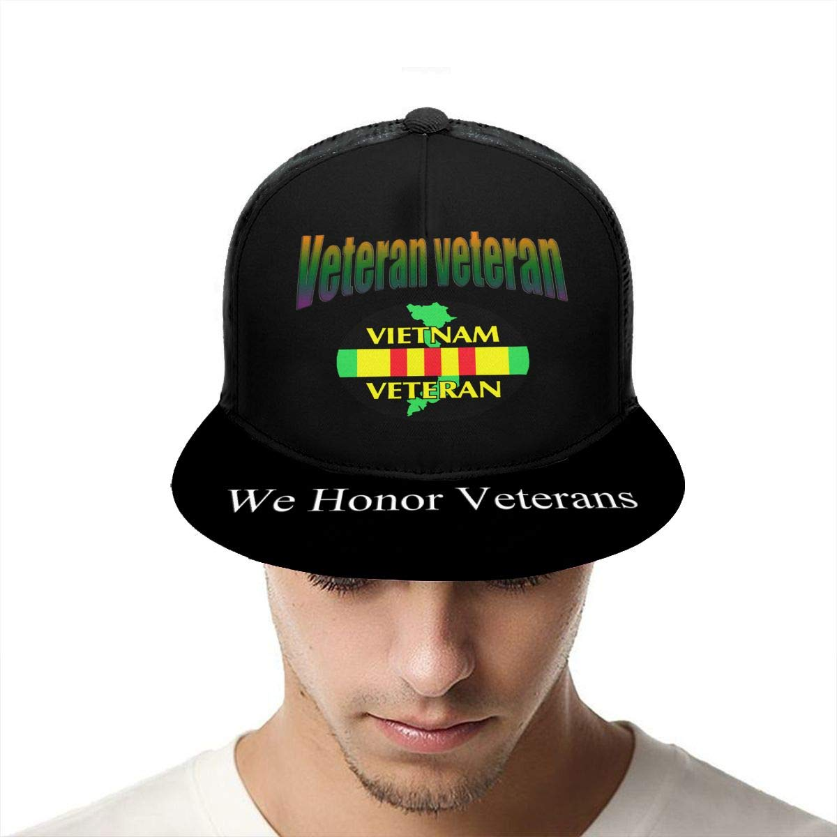 Vietnam Veteran Classic Grid Caps Flat Along Baseball Hat Snapback Men Women Hat Adjustable